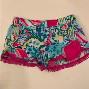 Lilly Pulitzer Printed Shorts with Fringe- XS